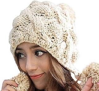ニット帽 ダブル ボンボン付き 耳あて付き ワッチキャップ ニットキャップ ざっくり編み レディース/A121 (ベージュ)
