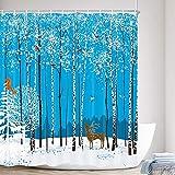 Duschvorhang, Winter-Rentier mit Waldblauem Himmel, roter Kardinal-Eichhörnchen-Tier-Fußabdrücke auf dem Schnee, Polyestergewebe, wasserdicht, Badvorhang, Badezimmer-Duschvorhänge Haken, 174 x 178 cm