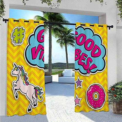 Outdoor Door Curtain Fantastic Colorful Fun Design Cute Magic Unicorn Speech Bubble Stars and Donut Anti-Uv Windproof Curtains Block Light for Outdoor Movie Nights Multicolor W55 x L63 Inch