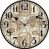 Tinas Collection Orologio da parete, orologio shabby chic da parete, orologio muro, orologio per cucina (Mappamondo)