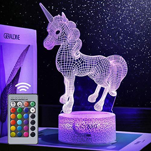 STAY GENT 3D Einhorn Nachtlicht für Kinder, Einhorn Geschenk 16 Farben ändern mit Remote Einhorn Sachen Urlaub und Geburtstagsgeschenke Ideen für Kinder A