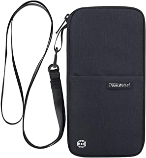パスポートケース Evershop パスポートバッグ カードケース 通帳ケース 海外旅行グッズ 航空券対応 軽量 防水 スマホ収納可 貴重品入れ クラッチバッグ トラベルポーチ (ブラック)