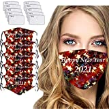757 5 Stück Neujahr 2021 Print Staubschutz Schal Waschbar Wiederverwendbar Mundschutz Bandana Baumwolle Atmungsaktive Mund und Nasenschutz Halstuch für Damen und Heren(+10 Filter)