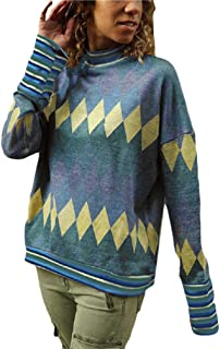 Howely Women's Casual Knitted Crewneck Argyle Printed Long Sleeve Sweatshirts