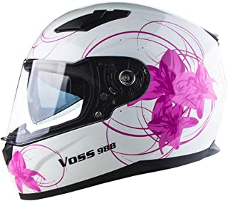 Voss 988 Moto-1 Lily Graphic Street Full Face Helmet with Drop Down Internal Sun Lens - XL - White/Pink Lily