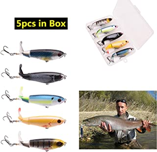 LUYAYUER Whopper Plopper Bait with Box - 4.0 Inch Hard Fishing Topwater Lure Tackle - Wobbler Fishing Lures, Hard Lures, Deep/Shallow Divers (Pack of 5)