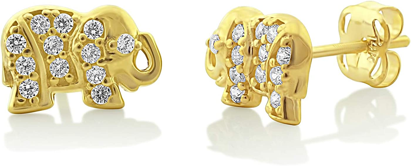14K Yellow Gold Cz Small Lucky Earrings Stud 0.31in Limited price NEW before selling Elephant -