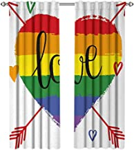 youpinnong Pride, Curtains and Drapes, Hand Drawn Rainbow Heart with Arrows and Doodles Love Valentines Word Special Day, Curtains for Bedroom, W84 x L84 Inch, Multicolor