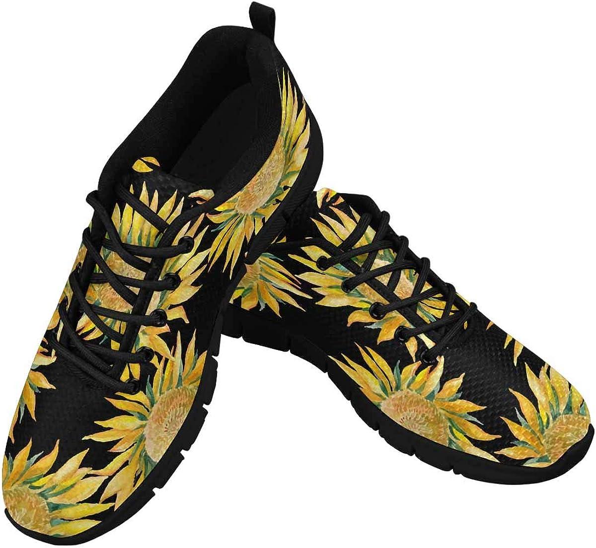 INTERESTPRINT Sunflowers Pattern Women's Breathable Sneaker