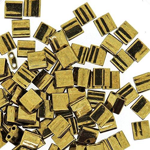 Dark Bronze Tila Beads 7.2gram Miuki quadrato 5mm 2fori
