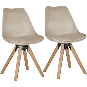 Duhome 2er Set Stuhl Esszimmerstühle Küchenstühle Farbauswahl mit Holzbeinen Sitzkissen Esszimmerstuhl Retro 518M, Farbe:Beige, Material:Samt