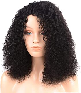 Human Hair Wig Short Afro Kinky Curly Wig Lace Front Wavy Wig for African American Women European 18