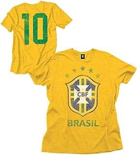 Brasil CBF #10 Futebol Soccer Men's Distressed Crew Neck T-Shirt Yellow