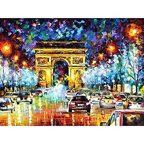 CHXFit DIY Pintura al óleo por números Pintura al óleo Digital Arco de Triunfo Paisaje Pared Arte Moderno Lienzo Pintura Navidad decoración del hogar-50x65cm