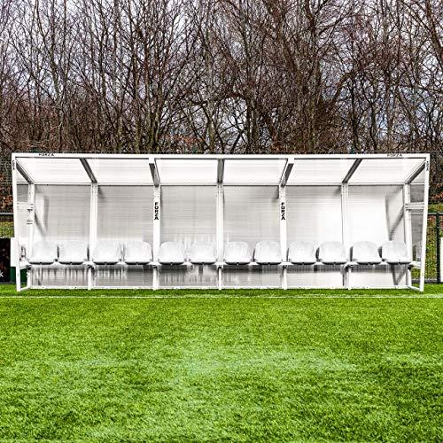 FORZA Aluminium Spielerkabine – robuster Auswechselbank, Trainerkabine aus Aluminium (Weiß, 7m │ 14 Sitze)