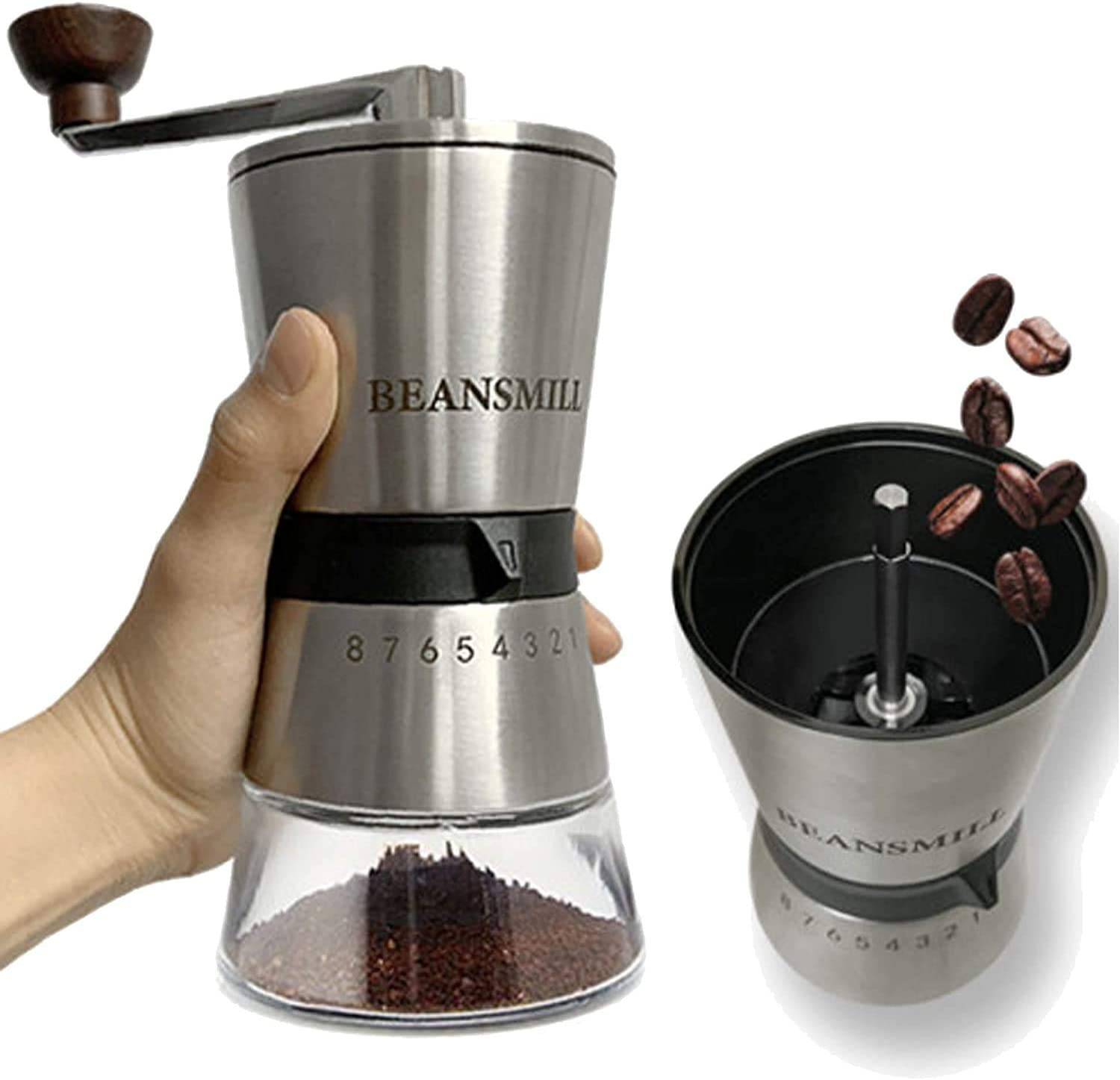 BeansMill 200 Coffee Grinder Control 15-Step Stainless Grinding Very popular Discount mail order