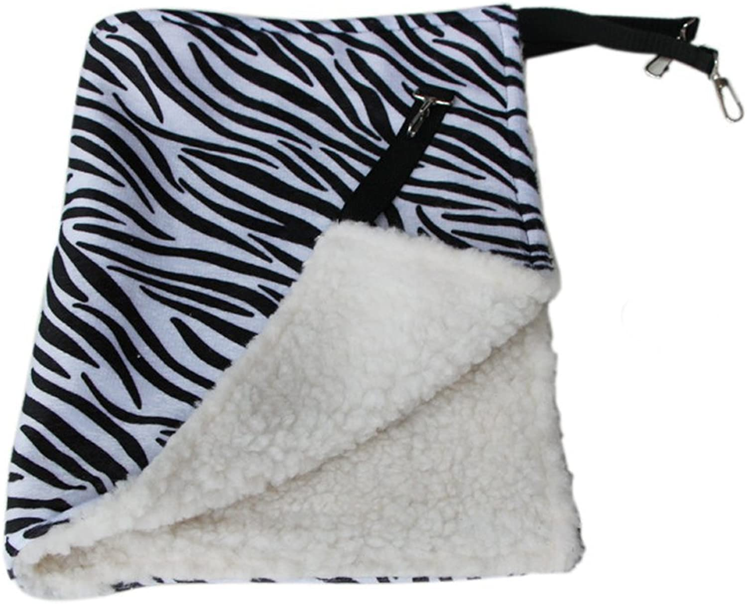 Fashion and Unique Comfortable Warm Pet Cat Kitty Cage Hanging Bed Hammock Blanket Cat Winter Supplies (35 x 35cm, ZebraStripe)