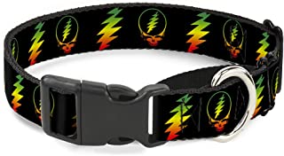 Buckle Down Dog Collar Martingale Steal Your Face Lightning Bolt Repeat Black Rasta 15 to 26 Inches 1.0 Inch Wide