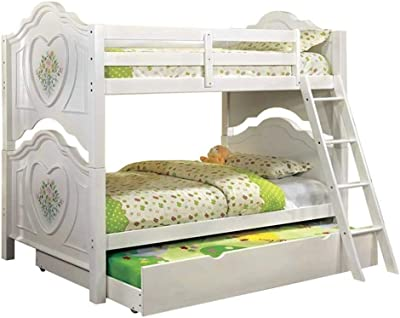 Benjara Twin Bunk Bed with Attached Ladder and Heart Motif, White