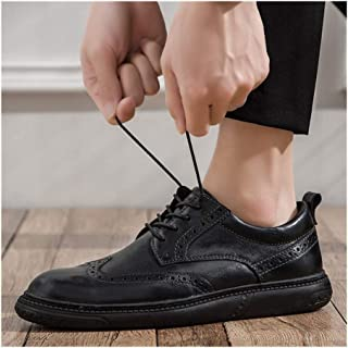 Bin Zhang Business Oxfords for Men Casual Shoes Brogue Carve Genuine Leather Pointed Toe Lace up Solid Colour Stitch Perforated Flat Heel (Color : Black, Size : 7 UK)
