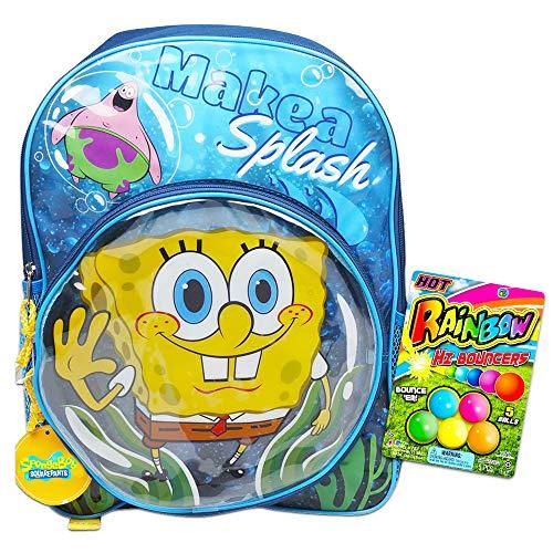 Spongebob Squarepants Backpack School Supplies Bundle for Kids ~ Deluxe 16' Backpack with Bouncy Balls (Spongebob School Supplies)