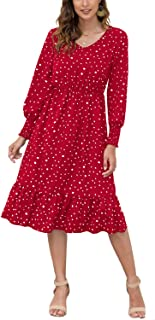 Choha Women's Polka Dot Dresses V Neck Long Sleeve Ruffle Flowy Midi Casual Dress