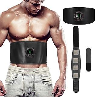 Electroestimulador Muscular EMS Cinturón Abdominal,USB Rechargeable Estimulador Muscular, ABS Trainer aparatos para hacer ejercicio gym en casa, Unisex, para 55 - 105cm+39cm banda de extensión cintura