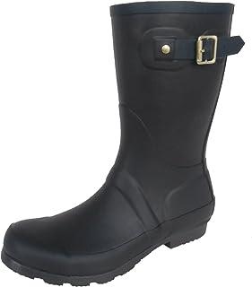 長靴 雨靴 防水 レインシューズ ベルト バックル ハーフ シンプル ガーデニング アウトドア 通勤 通学 3色 レディース