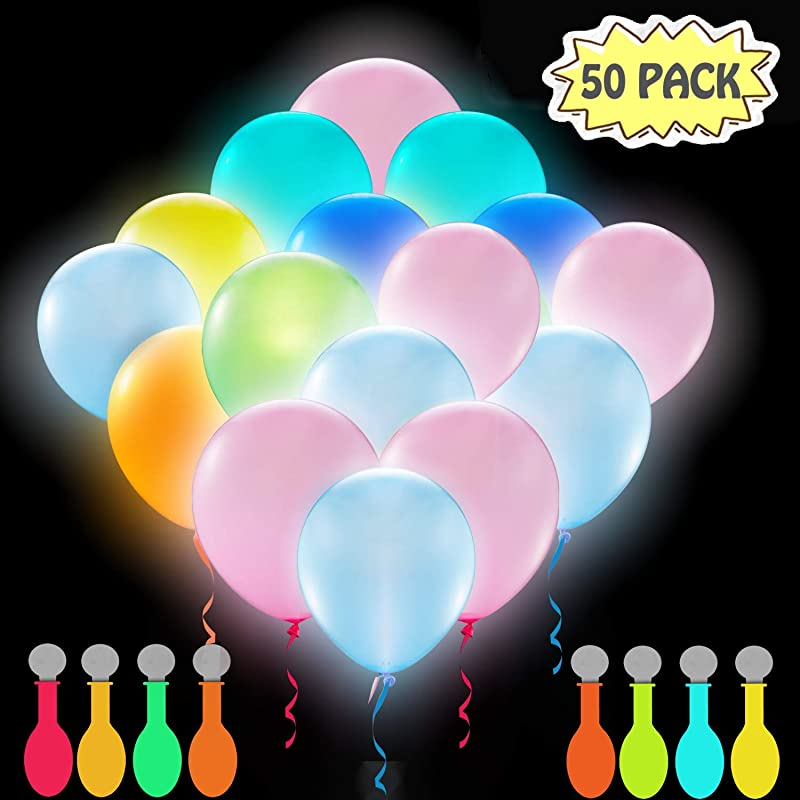 POKONBOY 50 Pack LED Light Up Balloons Glow In The Dark Party Supplies LED Balloons Neon Party Supplies For Birthday Wedding Festival Easter Mixed Color