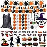 Colmanda Palloncini Feste Halloween Set, 81 Pezzi Halloween Decorazioni Happy Halloween Banner Ragnatela Tenda Foto Prop Halloween Banner di Zucca Banner di Ragno per Decorazioni di Halloween Feste