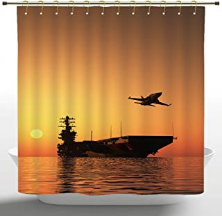 iPrint Funky Shower Curtain, War Home Decor,Military Aircraft Jet and Armed Ship The Sea at Sunset Horizon Dramatic Theme,Orange,Polyester Bathroom Accessories Home Decoration