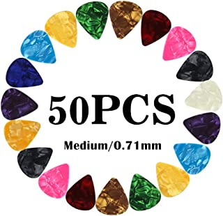 Guitar Picks Medium Gauge Assorted Pearl Variety Sampler Pack Celluloid - 50 Pcs Colorful - Plectrums for Gift Acoustic Guitar, Bass and Electric Guitar - 0.71mm