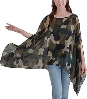 Women's Loose Solid Sheer Chiffon Caftan Poncho Batwing Tunic Top Blouse Summer Oversized Shirts