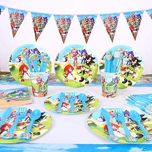 REYOK Partygeschirr Kindergeburtstag Set, 82PCS Sonic The Hedgehog Kindergeburtstag Deko Kit Becher Tischdeko für Kindergeburtstag Motto-Party Tischdeko Partygeschirr für 10 Personen