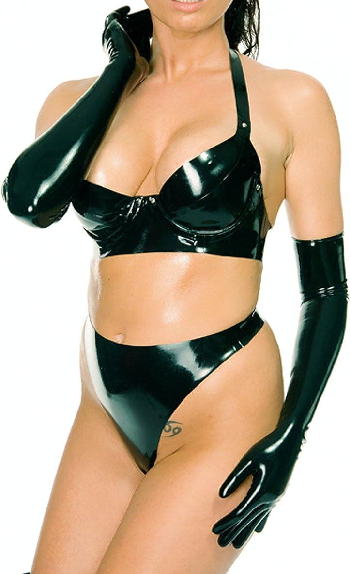 Bargain EXLATEX Women Latex Rubber Lingerie Set Super sale period limited Bra Bri and Thong Gloves