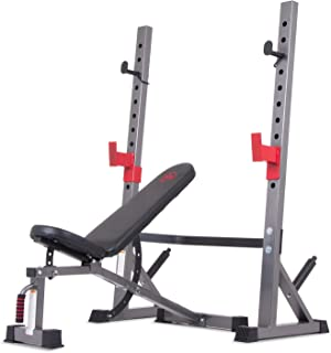 Body Champ BCB5280 Olympic Weight Bench with Adjustable Rack, Black/Gray/Silver/Red
