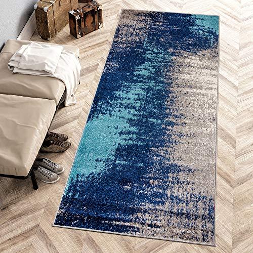 Carpeto Rugs Modern Läufer Flur Teppich Abstrakt Muster - Kurzflor Teppichläufer für Flur, Küche, Schlafzimmer, Esszimmer - Flurläufer in Versch. Größen und Farben - Dunkelblau Grau 80 x 250 cm