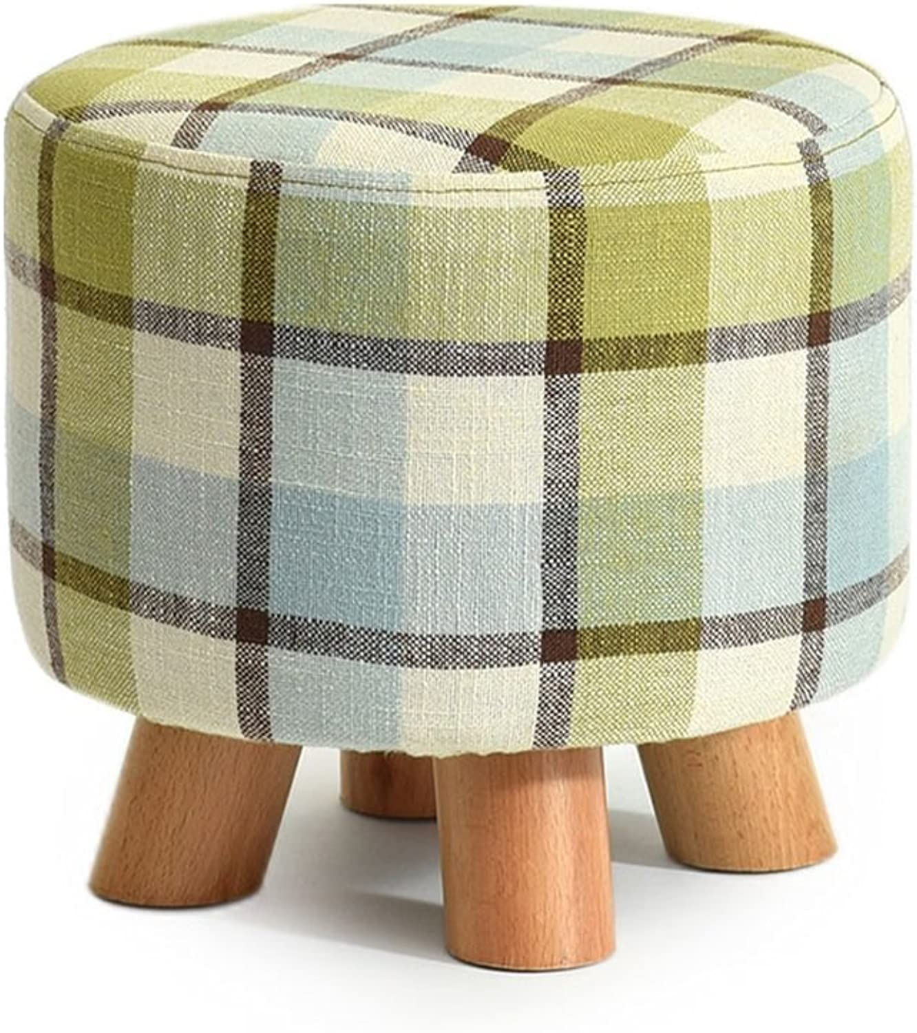 Solid Wood shoes Stool Round Upholstered Footstool Sofa Low Stool Footrest Small Seat Foot Rest Chair Stripes (color    1)