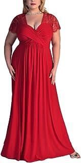 Vestido rojo casual, coctel, fiesta, noche, vestir, elegante, curvis, talla grande, xxl