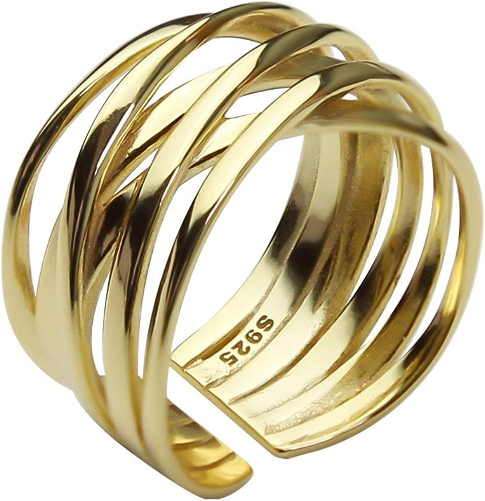 Minimalism Infinite Ring Gold & White Gold Plated Statement Ring Vintage Style Simple Fashion Jewelry for Women Men
