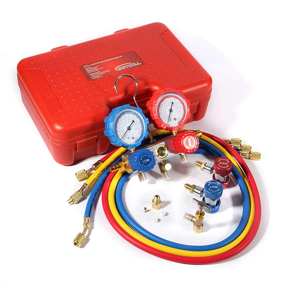 BETOOLL Diagnostic Manifold Gauge Set for Charging&Vacuum Pump Evacuation fits R134a R12 R22 Refrigerants with 4 Feet Hoses,Adjustable Couplers,Acme Tank Adapters and Can Tap