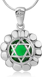 "SUVANI 925 Sterling Silver Anahata Heart Chakra Reiki Kundalini Symbol Green Glass Pendant Necklace 18"""