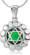 Chuvora 925 Sterling Silver Anahata Heart Chakra Reiki Kundalini Symbol Green Glass Pendant Necklace 18