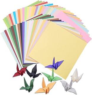 PandaHall Elite 約250枚セット 50色 折り紙 15x15x2.4cm 両面同色 手作り 千羽鶴の折り紙 ペーパークラフト アート 無地 おりがみ アクセサリーキット DIY素材 手芸用品 ハンドメイド 混合色