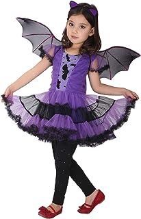 GEMVIE Déguisement Chauve-Souris Fille Costume Vampire Chauve-Souris Cosplay Halloween Toussaint Carnaval Soirée Robe Tutu...
