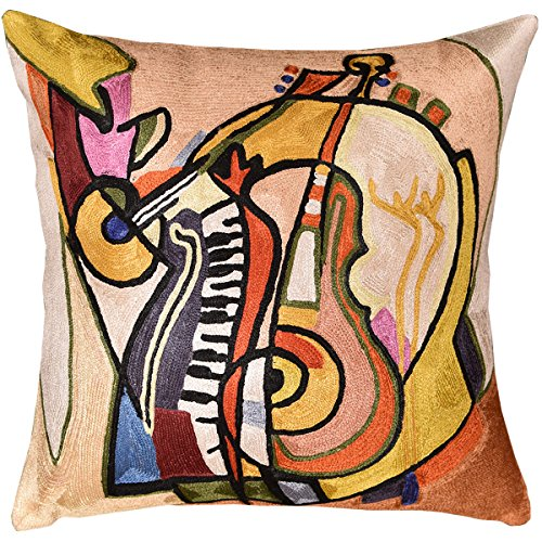 Read About Kashmir Designs Music is my Life by Alfred Gockel Accent Pillow Cover Handmade Art Silk 1...