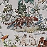 Stoff Baumwolle Meterware Leopard Affen Dschungel Dekostoff
