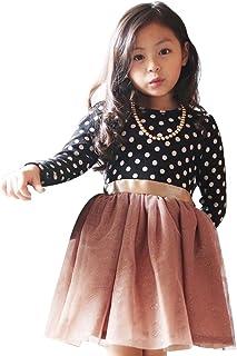 Baby Girls Princess Polka Dot Plaid Long Sleeve Party Formal Fancy Dress