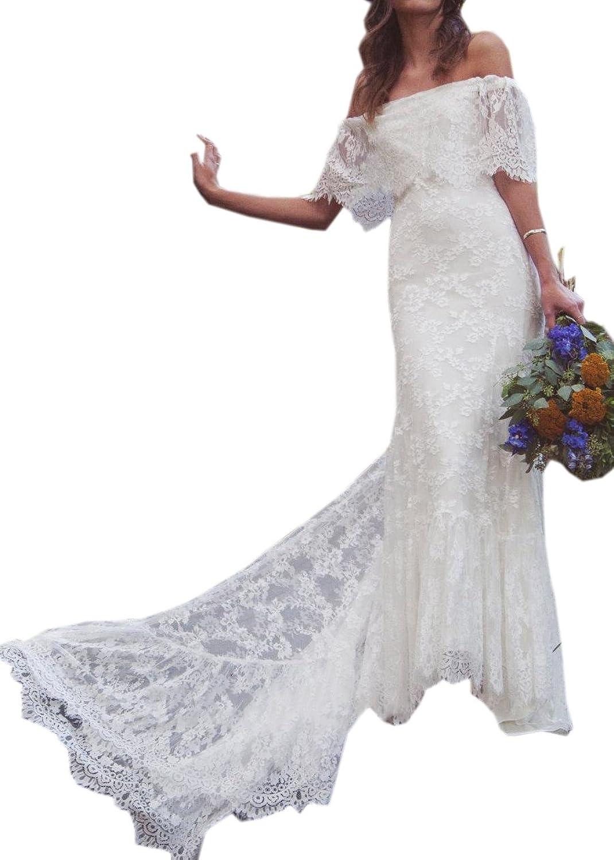 Datangep Women's OffShoulder Court Train Lace Aline Boho Beach Wedding Dress.
