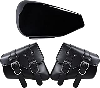 Anzio Black Left Side Battery Cover + Left & Right PU Leather Solo Saddle Bag for 2004-2013 Harley-Davidson Sportster XL883 XL1200